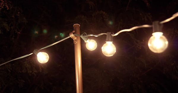 Attaching String Lights To House : Cool idea to use electrical conduit, can also use pipe straps to attach to house. Garden ...