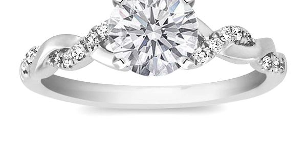 Petite twisted pave band Engagement Ring so pretty except with princess cut