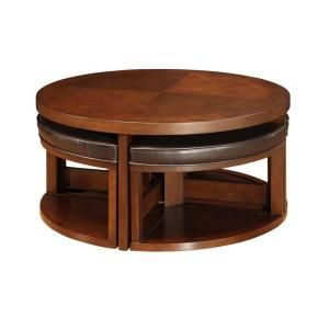 Brown Cherry Round Cocktail Table With 4 Ottomans 403292 01 Mtl At The Home Depot Coffee Table With Seating Coffee Table With Stools Coffee Table