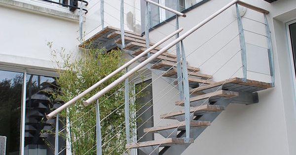 escalier d 39 ext rieur des escaliers en bois alu acier avec rampe interieur. Black Bedroom Furniture Sets. Home Design Ideas