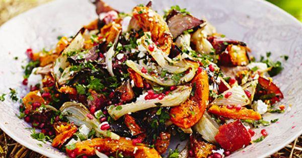 Harvest Salad Yummy Salad Recipes Roasted Veg Salad Vegetarian Recipes