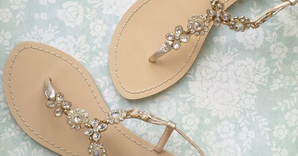 Something BLUE SOLE Flower Jewel Crystal Gold Bridal Thong Sandals Shoes Beach Wedding on Etsy, $139.00