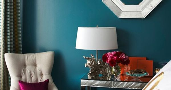 bedrooms - Benjamin Moore - North Sea Green - octagon mirror teal