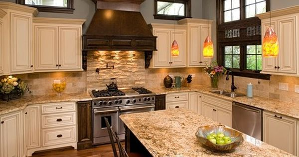 Cream Cabinets With Brown Glaze Dark Accents Love The