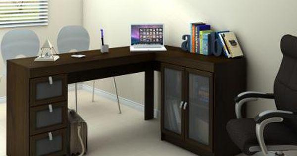 Mesa Para Computador Escrivaninha Espanha 2 Portas 3 Gavetas Com