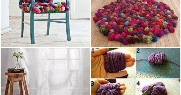 fabriquer un tapis pompons rond faire pinterest. Black Bedroom Furniture Sets. Home Design Ideas