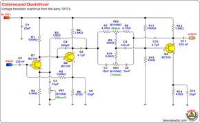 Schematic Colorsound Overdriver One Of My Favorite Circuits In 2020 Audio Amplifier Diy Guitar Pedal Electronics Circuit
