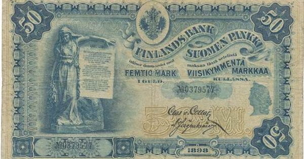 Russian Finland Currency 50 Markkaa Banknote 1898 Bank Notes Finland Money Notes