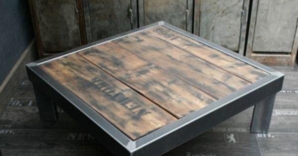 Table palette loft table palette table en acier et plateau bois - Fabrication table basse en palette ...