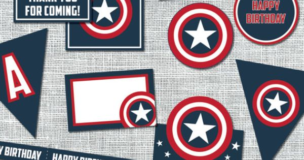 Captain America Birthday Party Accessories Package | By Amanda Franks Designs | Digital File $12 ...
