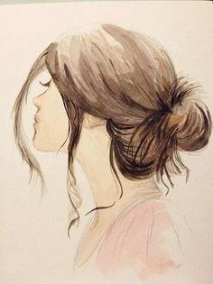 Tumblr Drawings Girl With Hair In Bun Side Veiw Google Search