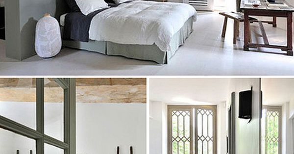 Natural slightly whitened wood, white walls and some green of grey touches...