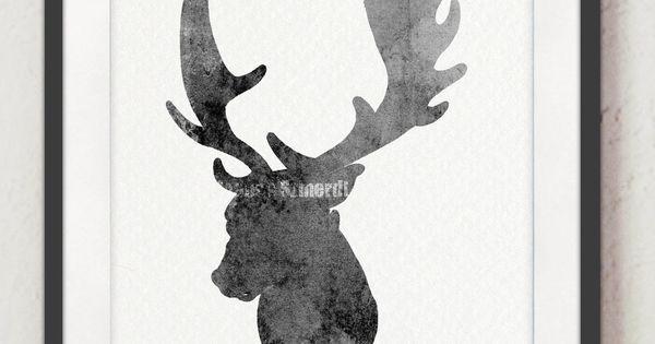 copie daquarelle, art de cerf impression, peinture à laquarelle ...
