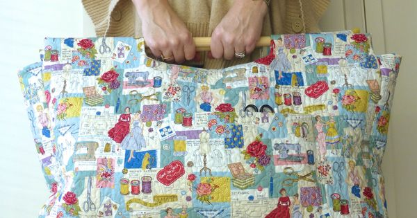 Sewing Bag Knitting Bag Craft Bag Tote With Wooden