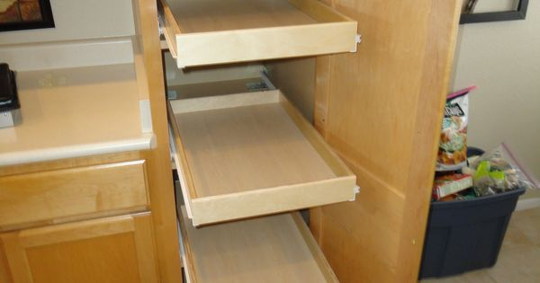 attaching pull out shelves onto pantry shelves allows the. Black Bedroom Furniture Sets. Home Design Ideas
