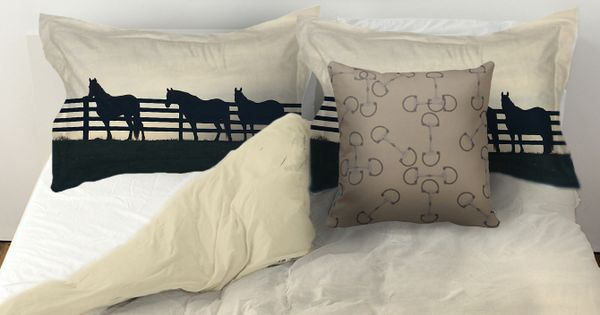 Horses at the fence equestrian duvet bedding cover the for Bedroom ideas for horse lovers