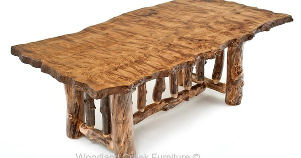 Log Dining Table Reclaimed Live Edge Top Lodge Mountain Rustic Outdoor Furniture Rustic Furniture Burled Wood