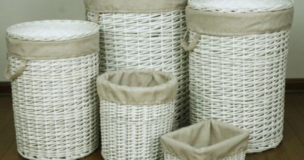 Wicker Wastebasket With Lid Small : Details about willow wooden wicker round linen laundry