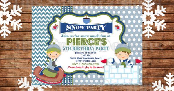 Winter Party Invitation - Sledding - Snow - Invite - Custom - Printable | Winter Wonderland ...