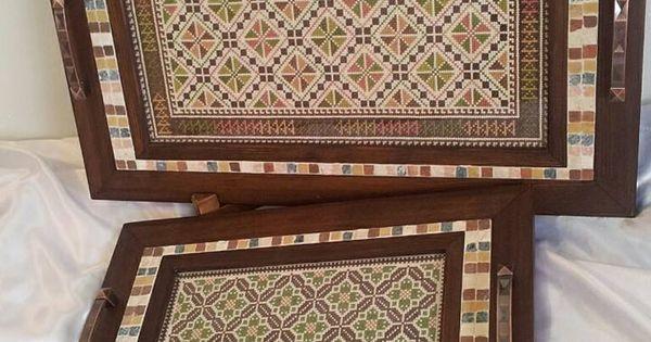 صواني تقديم بألوان ترابية تطريز فلاحي Palestinian Embroidery Cross Stitch Flowers Cross Patterns