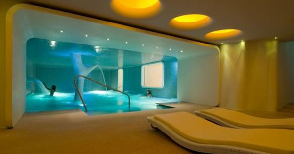 Interior modern spa room design with yellow color themed for Spa themed bathroom ideas