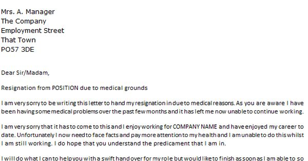 Letter Resignation Due Medical Reasons Icover Sample Illness