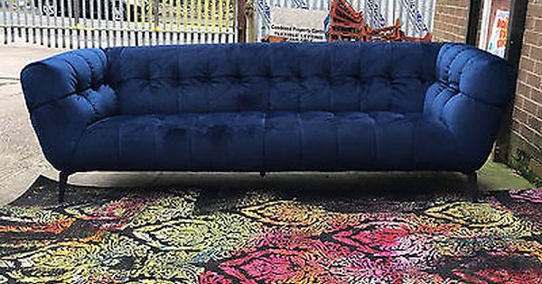 Violino 3 Seater Blue Velvet Sofa With