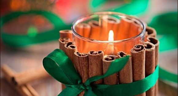 A simple scented DIY candle holder for winter weddings