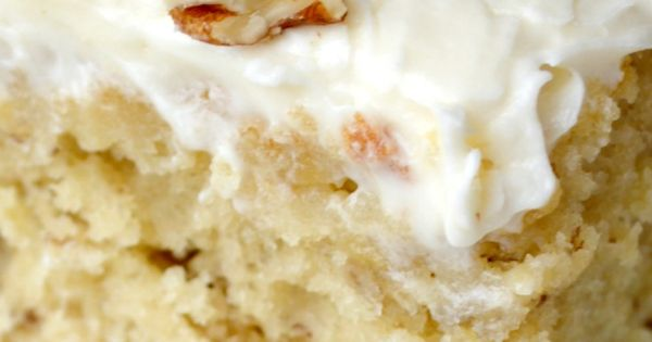 Banana Cake with Cream Cheese Frosting-- A moist, deliciously tender and fluffy
