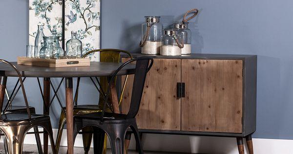vente honeybear 20848 petit mobilier scandinave bahut 2 portes naturel et gris. Black Bedroom Furniture Sets. Home Design Ideas
