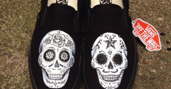 Day of the dead hand painted shoes. Dia de los muertos ...