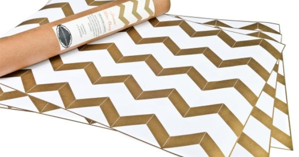 Chevron Gold Metallic Drawer and Shelf Liners
