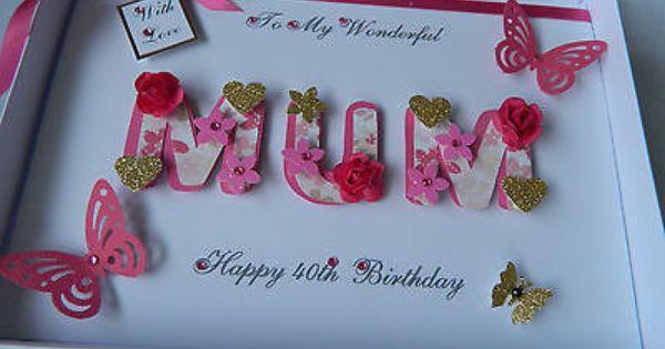 Personalised Handmade Mothers Day Mum Birthday Card 40 Th 50 Th 60th With Box Hand Made Card Birthday Cards For Women 80th Birthday Cards 50th Birthday Cards