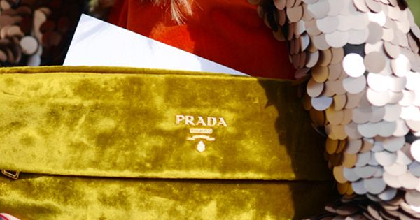 Velvet Prada clutch & sequin jacket