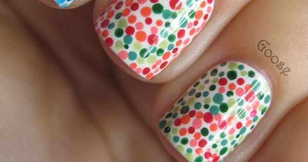 Color blind test, nail art. I can see the eight on the