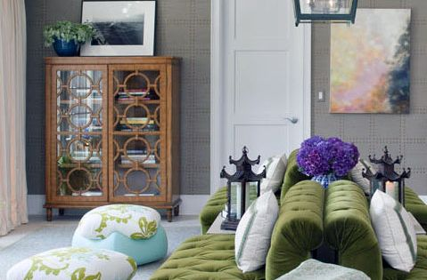 Color Scheme Eggplant And Green Eclectic Living Room Cabinets And Velvet