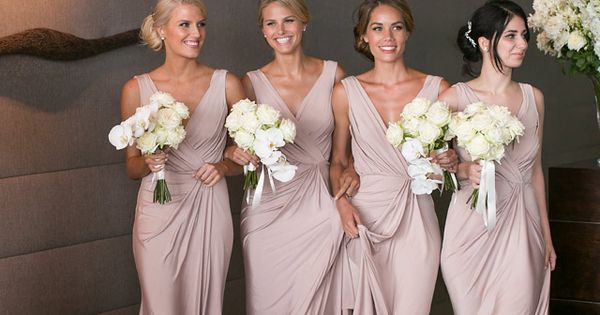 Dusky pink bridesmaid dresses from white runway image for Dusky pink wedding dress