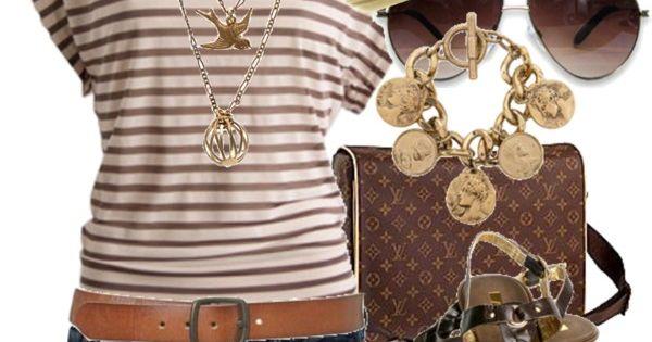 Beige Fedora, brown stripped shirt, denim shorts, tan belt, brown sandals, golden