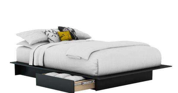 Base de cama south shore furniture matrimonial negra mod for Recamaras matrimoniales df