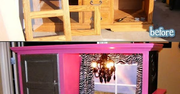 Old tv entertainment center Turned Little Girls Play Kitchen!!