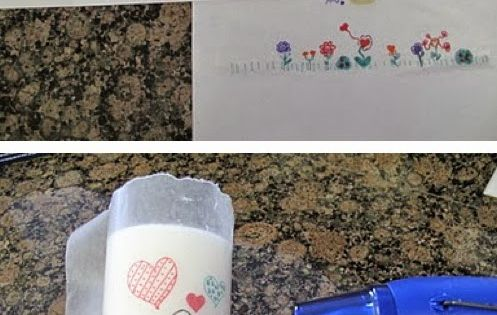DIY Personalized Candle - kids or grand-kids can make and give as a gift. Sorry no link or directions other than the picture tutorial shown. Kids draw picture on wax paper then wrap it around a white candle and heat with hair dryer until it melts onto the...