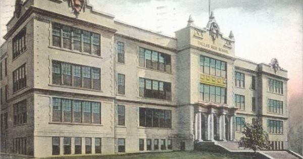 Vintage Postcard Dallas High School Downtown Dallas Texas Early 1900s Downtown Dallas Dallas County Dallas Texas