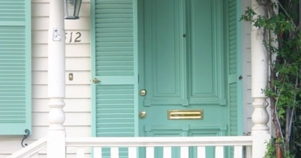 White House And Railings Turquoise Front Door And