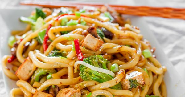 Tofu Drunken Noodles---not being a Tofu fan, I would switch it for