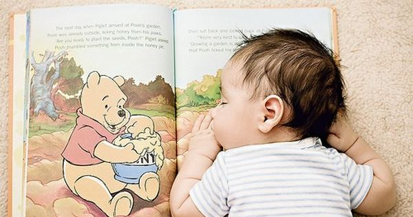 Infant photo idea - children's book (just not Winnie the Pooh)