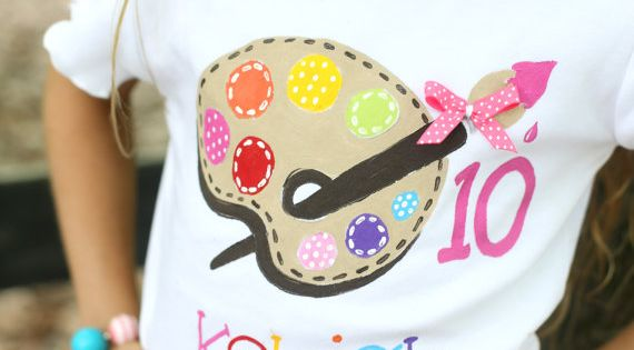 personalized birthday shirt, bright colors paint palette with ribbon and polka dots