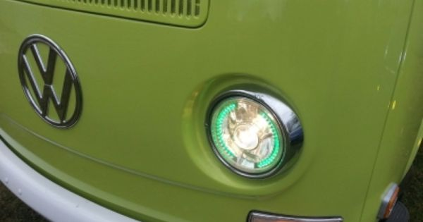 Vw Bus 1968 1979 Green Led Sealed Beam Projector Headlight Conversion Projector Headlights Volkswagen Transporter Bus Interior