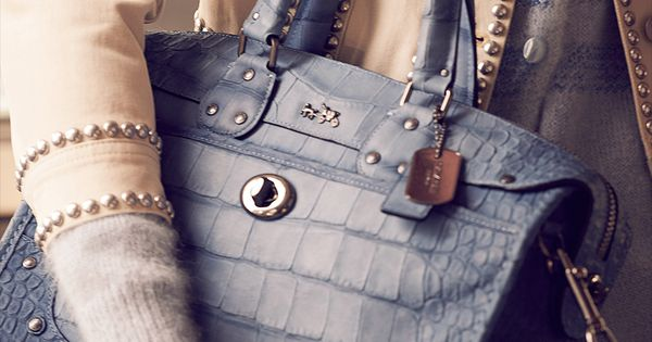 Rhyder Satchel in Croc Embossed Denim Leather Cheap Coach Purse Handbags Cheap