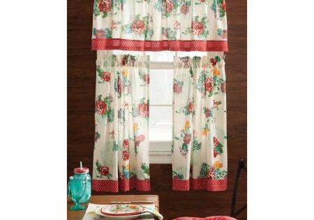 Pioneer Woman Kitchen Curtain And Valance 3pc Set Country Garden Pioneer Woman Kitchen