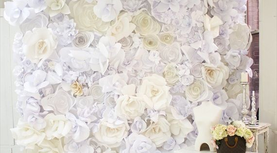 Paper wall - paper flower backdrop tutorial. Use my wedding colors.